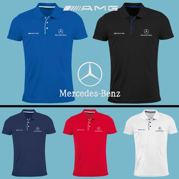 3199f8d8a05 Mercedes Benz AMG Polo T Shirt EMBROIDERED Slim Fit Black Navy