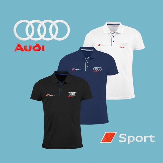 Audi Sport Polo Shirt brodé Slim Fit Polyester noir bleu marine blanc Auto voiture Logo T Shirt Tee Fans cadeau vêtements pour hommes
