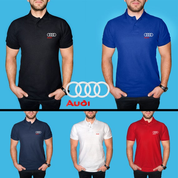 Mens Audi Polo Shirt Cotton Embroidered Auto Logo T Shirt Tee Etsy