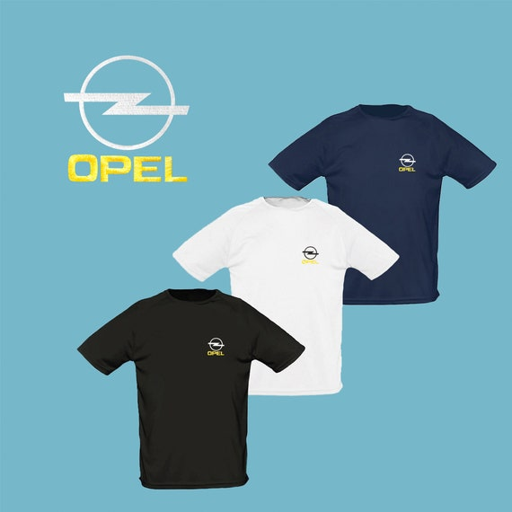 T AutoEtsy Black Embroidered Shirt Opel White Navy Polyester Blue eQCBdxoWr