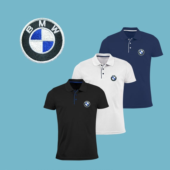 36b58f3e5cd8 BMW Polo Shirt EMBROIDERED Slim Fit Polyester Black Navy Blue   Etsy