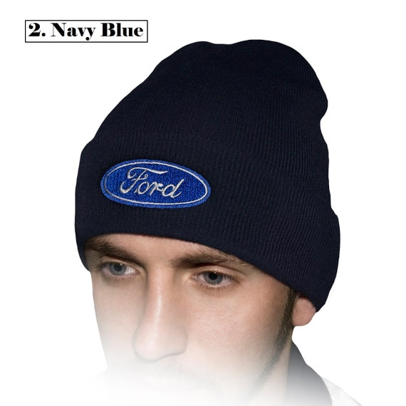 Ford Beanie Hat Embroidered Auto Car Logo Black White Blue  fd214ca5cb8