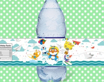 Pororo & Friends Summer Water Bottle Labels, Pororo Birthday Party Labels, Pororo Printable Party Supplies