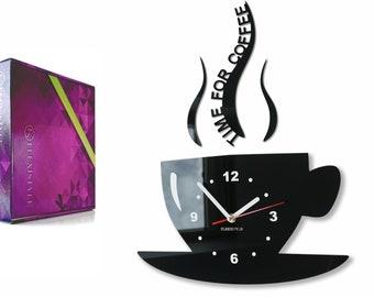 Horloge Murale De Cuisine Moderne Cup Time For Coffee Verre Acrylique 17  Couleurs Disponibles Silencieux Fabriqué Dans Lu0027UE, 36 X 32 Cm