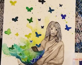 Picking Butterflies (original art)