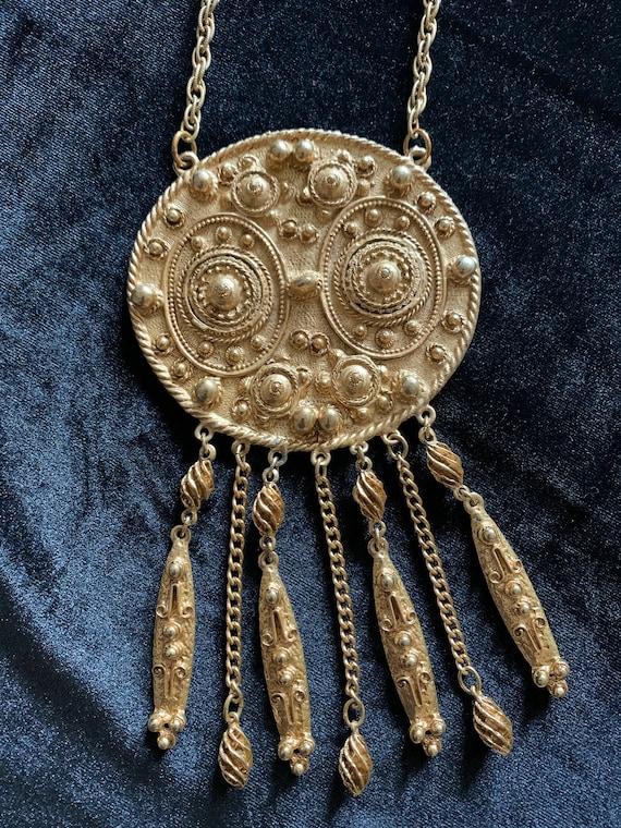 Vintage runway Boho medallion statement necklace