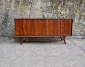 Mid Century Zenith Louvered Record Console with audiophile components and echo dot