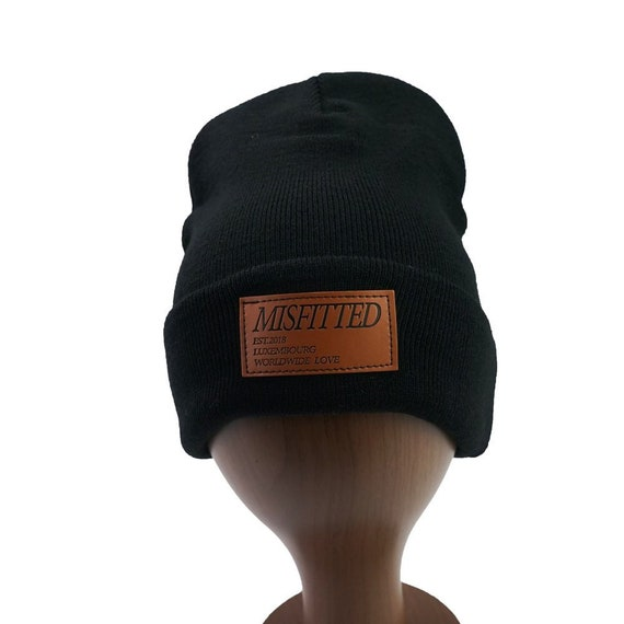 50pcs custom your logo beanie knit hat leather patch with etsy etsy