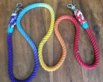 Hands-Free Rope Dog Leash, Multi-Color Rainbow