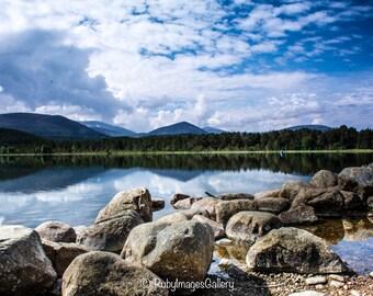 Scotland photography, Loch Morlich, Scottish Highlands, Aviemore, blue skies
