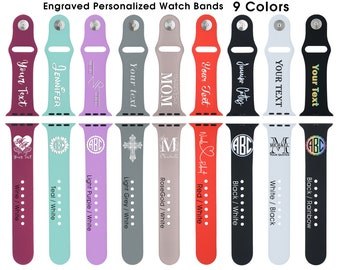Personalized Watch Band with Name Monogram and Custom Designs, 38/40 mm and 42/44mm,  S/M Band, M/L Bands