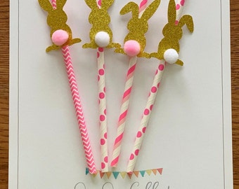 Easter Decorations Pink Bunny Rabbit Easter Straws Bunny Decorations Easter Party Straws Bunny Birthday Party