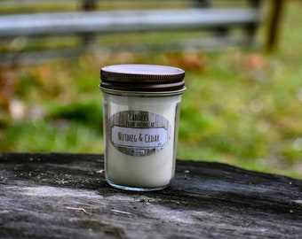 Hand Crafted Nutmeg & Cedar 100% Natural Soy Candle