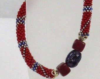 Red and Purple Beaded Bangle