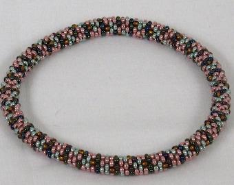 Multicolored Bead Crochet Bangle