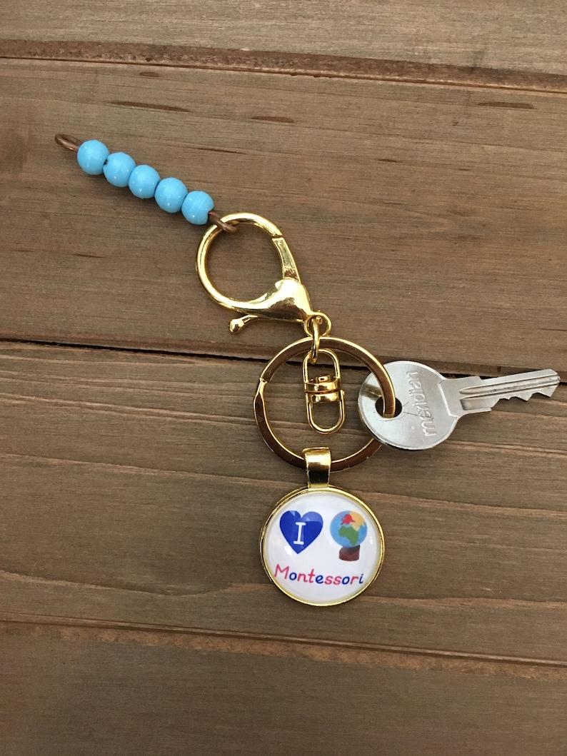 I Love Montessori Keychain Gold image 0
