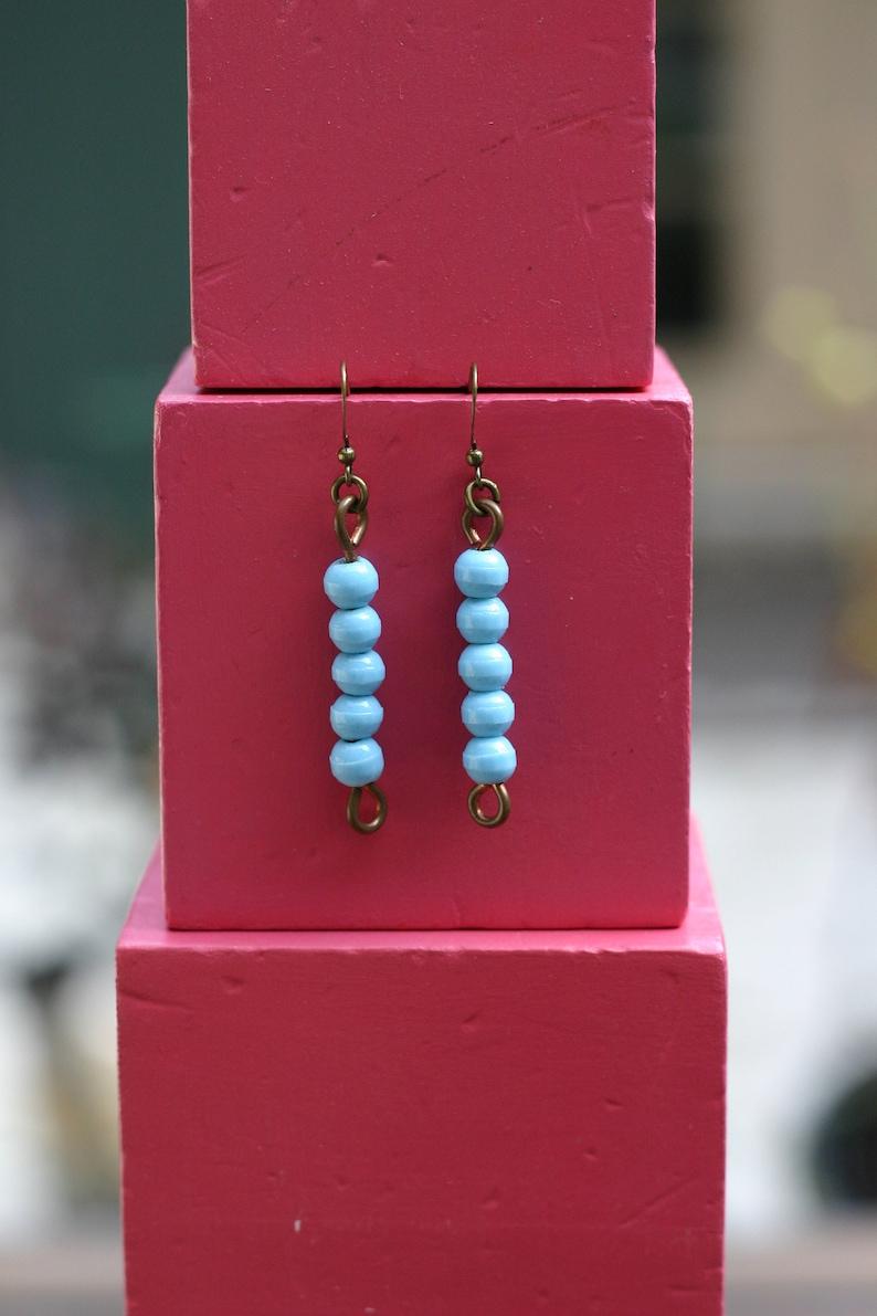Vintage Glass Montessori color bead earrings 5 light blue image 0