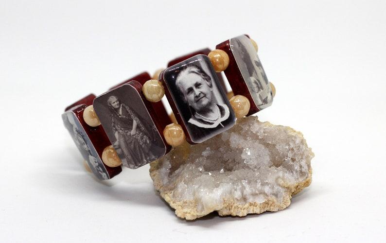 Handmade resin/wood/glass Maria Montessori Bracelet image 0