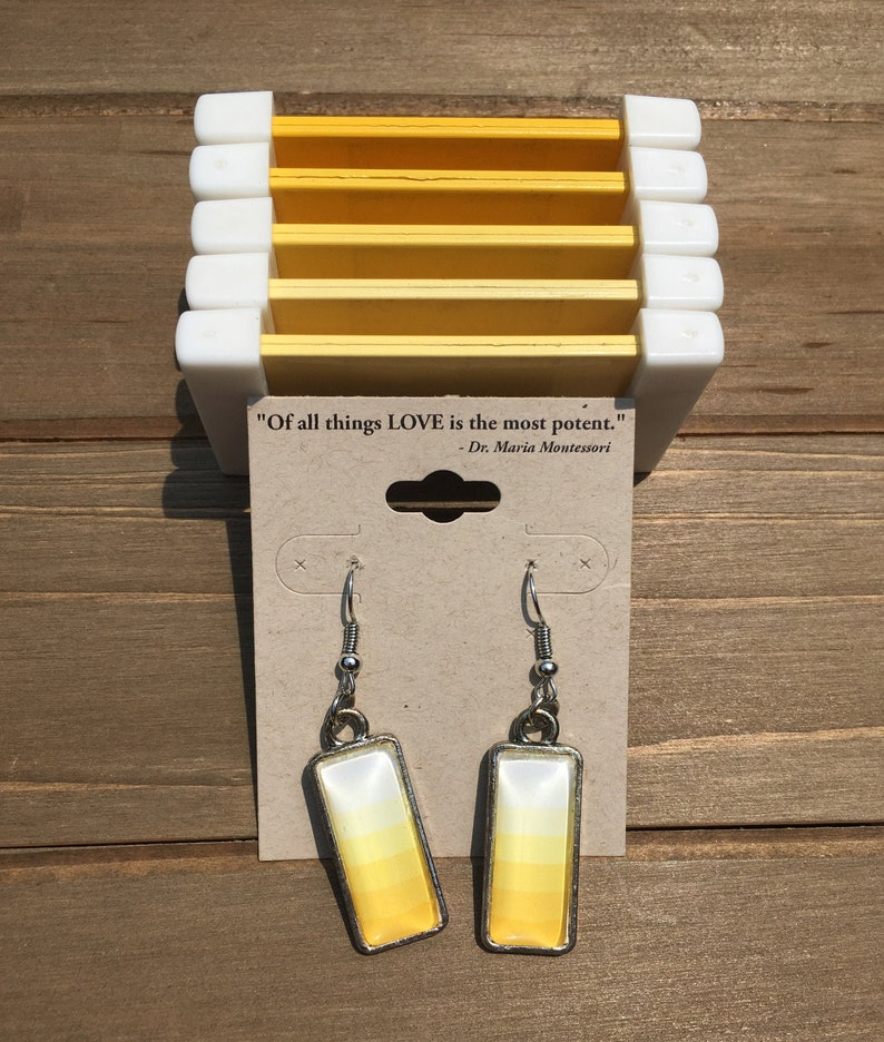 Shades of Color Box 3  Montessori inspired earrings Yellow image 0