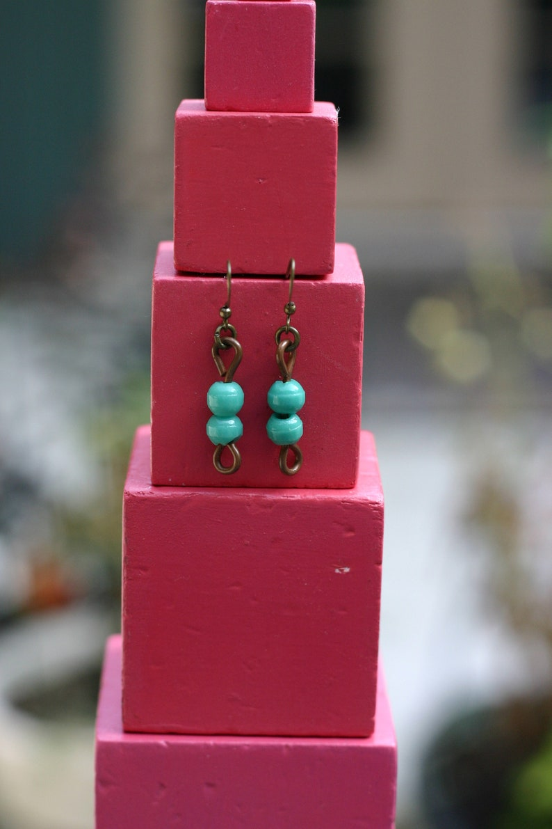 Vintage Glass Montessori color bead earrings 2 green image 0