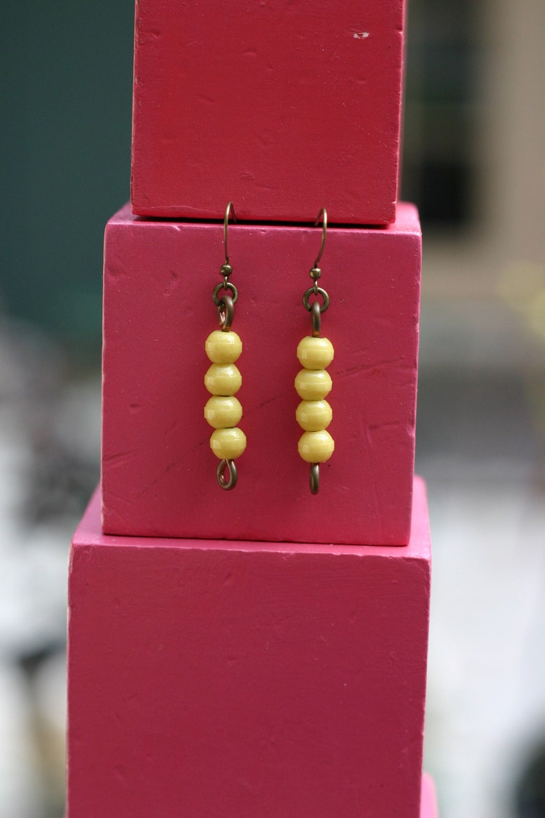 Vintage Glass Montessori color bead earrings 4 yellow image 0