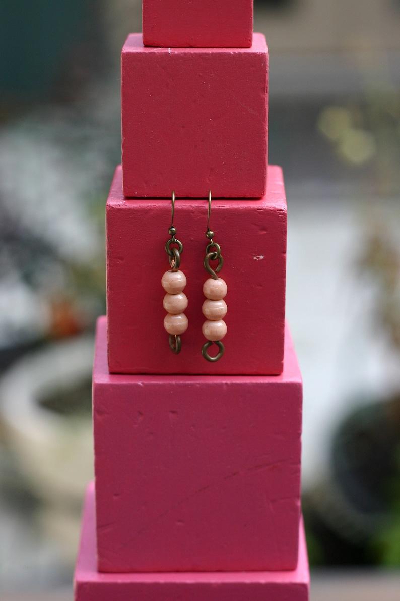 Vintage Glass Montessori color bead earrings 3 orange image 0
