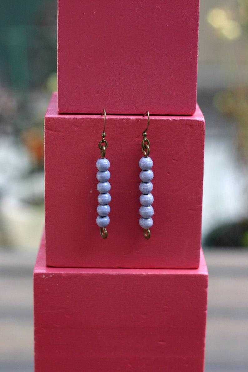 Vintage Glass Montessori color bead earrings 6 purple image 0
