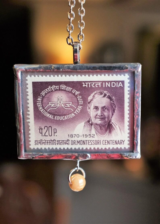 RARE Handmade Montessori Indian Postage Stamp Necklace image 0