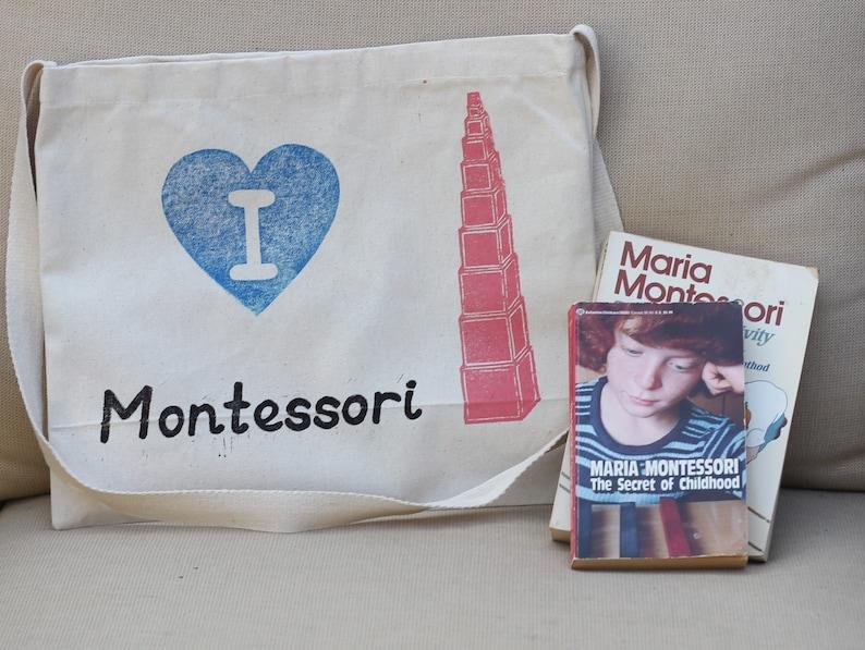 I Heart Montessori Pink Tower Tote Bag image 0