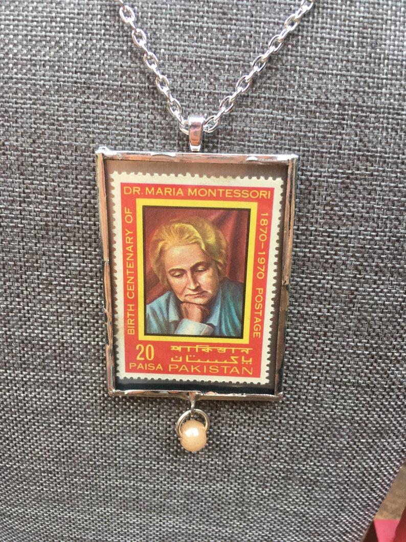 RARE Montessori Pakistan Postage Stamp Necklace Handmade/Red image 0