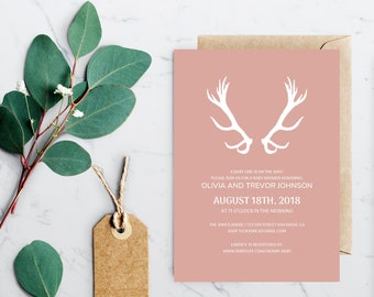 antlers baby shower printable invitation template instant etsy