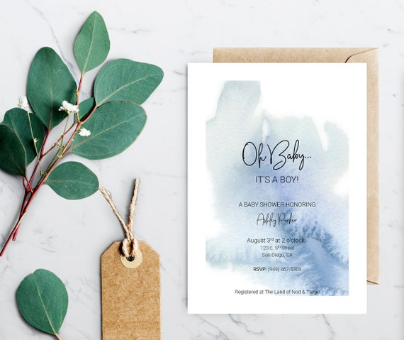 it s a boy baby shower invitation template instant etsy