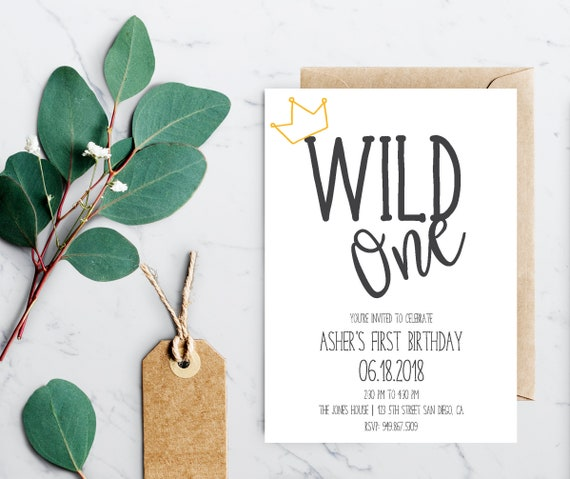 wild one first birthday party invitation instant download etsy