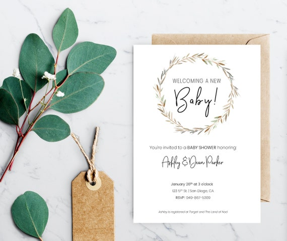 Simple Rustic Baby Shower Invitation Template Instant Etsy