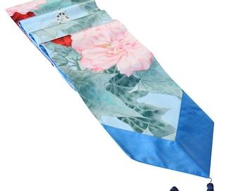 Handmade Silk Peony Large Table Runner