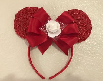 Red Sparkly  Minnie Ears