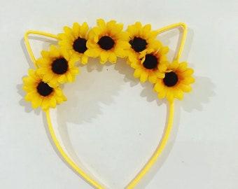Sunflower garden headband