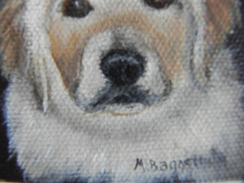 Golden Retriever Small painting, original Golden Retriever puppy portrait,  3x3 inch miniature dog art home decor by Mary Ann Baggstrom
