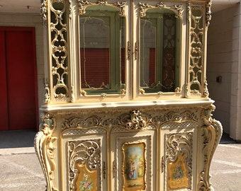 Rare ! Antique Outstanding SILIK Italian dining room china hutch display curio cabinet  Italy Rococo Baroque Victorian