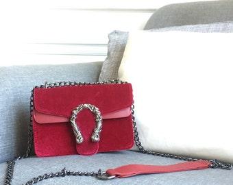IT BAG 2018 Leather & Suede Bag, Luxury Loop Bag, Large Metal Loop Bag, Chain Crossbody Bag, Vintage Party Spirit Bag