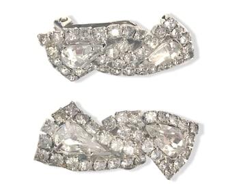 Vintage Large Triangle Diamond Rhinestone Clip On Earrings