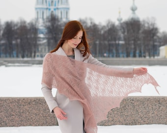 Hand knit pink beige mohair shawl, soft elegant warm accessory, leaves lace wrap, gift for her, bridal shawl, leaves shawl, knitted shawl