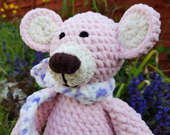 Lucy pink crochet bear, soft handmade  cuddly toy