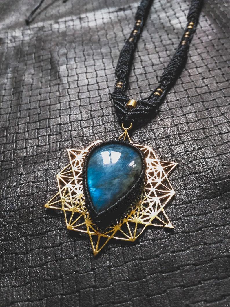 Gypsy Design BlueFire Labradorite Tetrahedron Ritual Pixies Unique Bronze Gems Handmade Ethnic Tribal Sacred Geometry