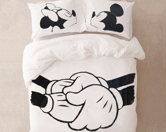 Romantic Disney Bedding for Couples gift for Her Duvet Cover with Mickey mouse Disney bedding gift for Couple Wedding gift Anniversary gift