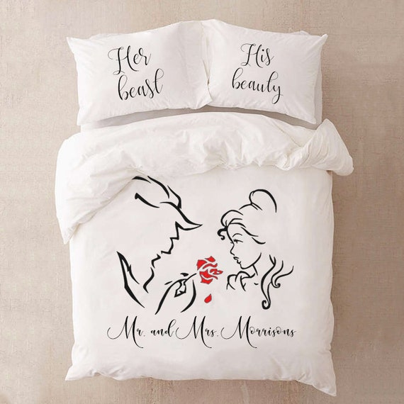 Personalized Beauty And The Beast Bedding Set For Couples Gift Etsy