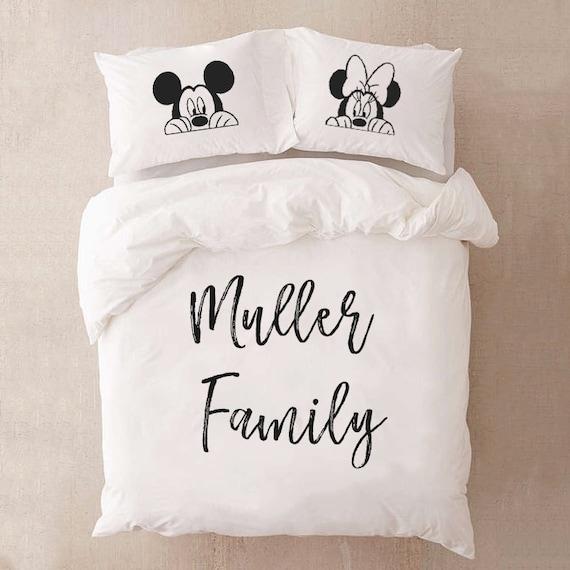 Disney Bettwäsche Für Paare Geschenk Mickey Und Minnie Etsy
