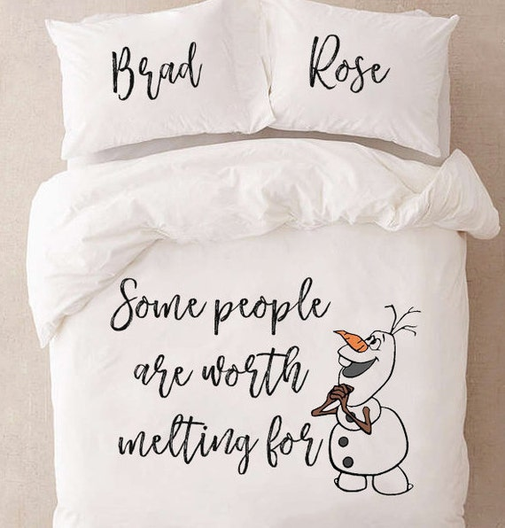 Funny Bedding For Couples Gift For Couples Frozen Bedding Set Queen Bedding Disney Gift For Her Frozen Olaf Duvet Cover Personalized Gift