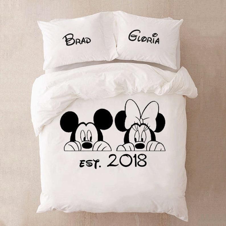 Mickey Und Minnie Bettwäsche Set Für Paare Baumwolle Jahrestag Etsy