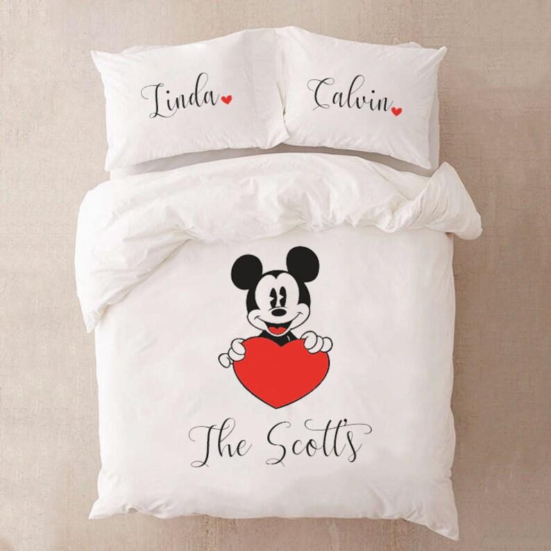 Disney Bettwäsche Für Paar Bettwäsche Mickey Mouse Geschenk Etsy